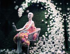 100,000 flowers mingle with a consortium of cosmetics on display at #SaksGlamGardens