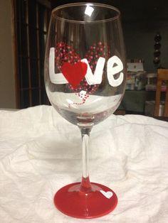 Valentines Day Wine Glasses Set on Etsy, $16.00