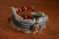 Upcycled Denim Cuff Bracelet Rose Red by TheSunroomBoutique