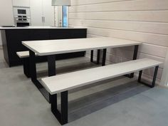 Planktable and benches with metal legs made by Romuritari. Benches, Dining Bench, Legs, Metal, Summer, House, Furniture, Home Decor, Banks