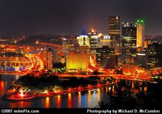 Breathtaking View of the Golden Triangle of Pittsburgh with Point State Park's Fountain from Mount Washington.