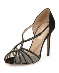 S039A Valentino Crystal and Satin Evening Pump, Black