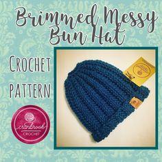 e24f373f8f3dc ExciBrimmed Messy Bun Hat Crochet Pattern Single Crochet