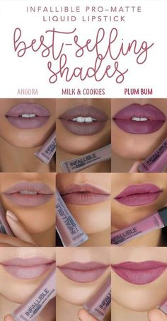 The three best-selling shades of new L'Oreal Infallible Pro-Matte Liquid Lipstick: 360 Angora 364 Milk & Cookies and 362 Plum Bum. 3 nude matte liquids that last all day. - March 03 2019 at Makeup Dupes, Skin Makeup, Beauty Makeup, Hair Beauty, Makeup Eyeshadow, Makeup Brushes, Makeup Kit, Beauty Skin, Makeup Stuff