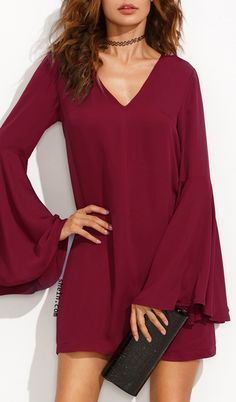 Burgundy v neck ruffle sleeve shift dress.