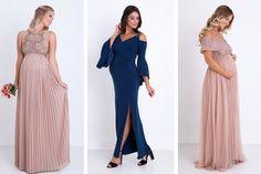 19 vestidos de festa para grávidas - Constance Zahn   Casamentos Dark Blue Bridesmaid Dresses, Navy Blue Bridesmaids, Prom Dresses, Formal Dresses, Wedding Dresses, Red Graduation Dress, Crochet Top Outfit, Lace Dress, Ideias Fashion
