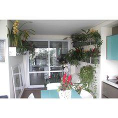 Floreiras de inox com orquídeas cimbídio, celosias, palmeiras Chamaedorea elegans, gusmânias (bromélias), chifre de veado e columeia. Mesa em vidro Boticelli Cinex. Quadros com imagens de flores.