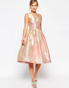 ASOS SALON Holographic Shimmer Metallic Plunge V Neck Midi Prom Party Dress 10 in Kleidung & Accessoires, Damenmode, Kleider | eBay