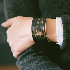 Anatomical Human Skeleton Brass Cuff Bracelet in Black - Doctor Jewelry - Cool Christmas Gifts Under 40