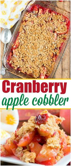 This cranberry apple cobbler is the perfect dessert made with fresh fruit! A gre… This cranberry apple cobbler is the perfect dessert made with fresh fruit! A great leftover cranberry sauce recipe after the holidays so nothing is wasted! Cranberry Dessert, Apple Cranberry Crisp, Fresh Cranberry Sauce, Recipes With Cranberry Sauce, Recipes With Cranberries, Fresh Cranberries, Apple Crisp, Fruit Juice Recipes, Healthy Dessert Recipes