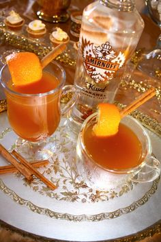 An amazing Caramel Apple Toddy made with Smirnoff Kissed Caramel and Bourbon