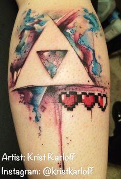 Watercolor Zelda Triforce tattoo by Krist Karloff