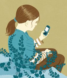 Great illustration about inactivity and smart phones by John Halcroft.