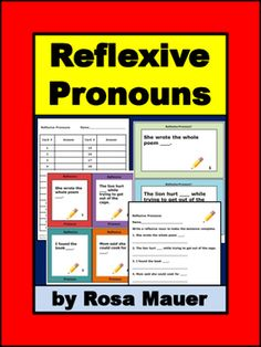 Reflexive Pronouns Task Cards and Worksheet: Receive text in two task card sizes and a printable worksheet. Response forms for students and answers for the teacher are provided. Students are to fill in the blank of each sentence with an appropriate reflexive pronoun.
