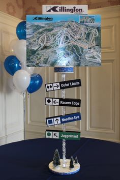 Ski Themed Bar Mitzvah Centerpiece with Blowup Ski Trails