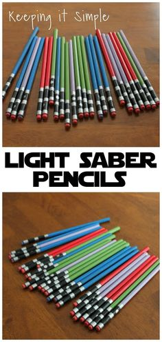 Star Wars Light Saber Pencils - Star Wars Cake - Ideas of Star Wars Cake - Turn regular pencils into awesome light saber pencils! Perfect for any Star Wars fan or a Star Wars themed birthday party. Bd Star Wars, Theme Star Wars, Lego Star Wars, Star Wars Pinata, Star Wars Kids, Kitty Party, Sabre Laser Star Wars, Star Wars Party Favors, Star Wars Party Decorations