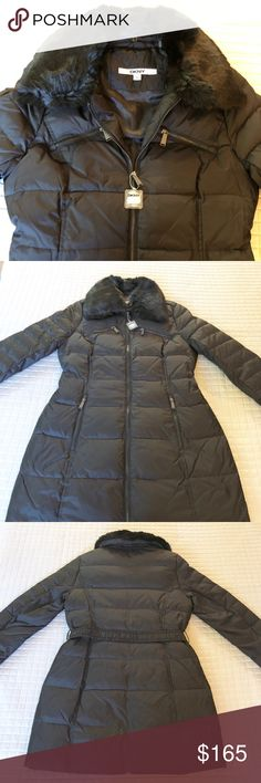 DKNY down jacket with removable faux fur collar DKNY down jacket. Zip front. Wear with or without the belt. Faux fur trim collar - detachable via buttons. Two zippered side pockets & two zippered chest pockets. Water repellent. Dkny Jackets & Coats