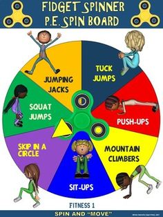 Spinner PE Spin Boards- 15 Fitness and Manipulative Skill Spin Boards Fidget Spinner PE Spin Boards- 15 Fitness and Manipulative Skill Spin BoardsFidget Spinner PE Spin Boards- 15 Fitness and Manipulative Skill Spin Boards Physical Education Activities, Pe Activities, Fitness Activities, Fitness Games For Kids, Fitness For Kids, Health Education, Volleyball Workouts, Fun Workouts, Physical Fitness Program
