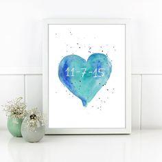 Blue Nursery heart watercolor with custom date. Personalized gift for Baby. Baby Nursery art. Watercolor Heart Art Baby Girl boy Nursery.Corazón en acuarela, original hecha a mano. Tonos azules y verdes. Con fecha o nombre personalizado. Ideal para decorar la habitación del bebé,