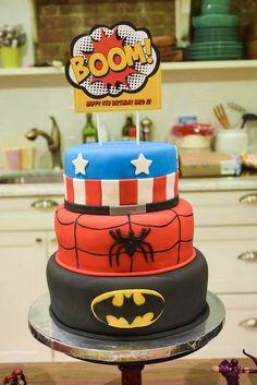Superhero themed 4th birthday party via Kara's Party Ideas : The Cake