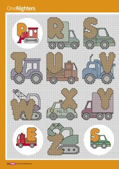 On the Move alphabet - 4 of 4 Animal Letters, Animal Alphabet, Cross Stitch Alphabet, Cross Stitch Animals, Cross Stitching, Cross Stitch Embroidery, Cross Stitch Designs, Cross Stitch Patterns, Stitch Toy