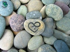 Infinity Heart Initial Stone 2in-3in  Custom Hand by SignsofNature