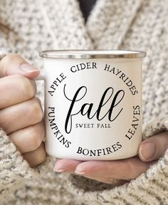 Fall Sweet Fall Personalized Coffee Mug - Fall Coffee Tumbler - Fall Favorites Coffee Travel Mug - Pumpkins - Apple Cider - Hayrides by swiftcreekgifts on Etsy Printed Coffee Cups, Gifts For Campers, Neutral, Autumn Coffee, Custom Cups, Coffee Tumbler, Ceramic Coffee Cups, Personalized Coffee Mugs, Flyer