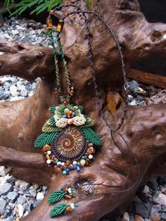 Macrame Necklace with Ammonite Fossil, Amber, Lapis and Agate  by e.n. thatium| eBay