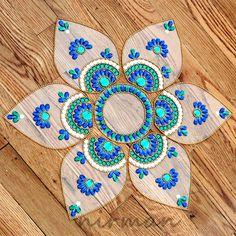 Rangoli floor art Jumbo Pan Blue Green and White set by Nirman, $28.00
