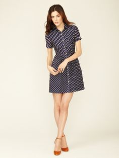 Donna Cotton Polka Dot Shirt Dress by Trovata