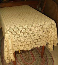"""Vintage Hand Crochet Lace Tablecloth Ecru Color 54"""" x 64"""" Scallop Edge - The Gatherings Antique Vintage"""