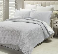 Savoy Pewter LUX - Features: Polyester Sateen. Set Contains: x1 Queen to King Bed Coverlet - 220cm x 250cm, x2 Standard Pillow Shams - 48cm x 74cm - #coverletsandcomforters