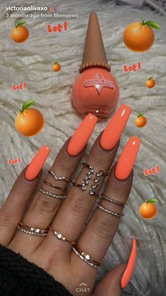 Coffin nails long, fake nails long, orange acrylic nails, acrylic nails for summer Orange Acrylic Nails, Long Acrylic Nails, Bright Orange Nails, Colourful Acrylic Nails, Bright Summer Acrylic Nails, Peach Nail Colors, Neon Colors, Clear Acrylic, Bright Gel Nails