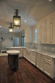 Kitchen. Urban electric lanterns. Shaw sink. Rachel Halvorson Design.    My favorite style.....