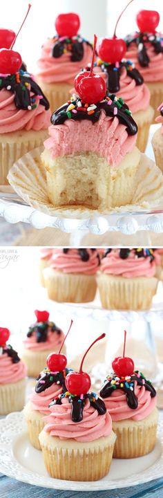Strawberry Sundae Cupcakes - moist vanilla cupcake topped with strawberry milkshake buttercream, chocolate ganache, sprinkles and a cherry!