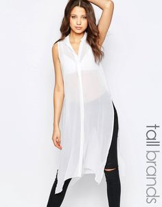 Noisy+May+Tall+Sleeveless+Button+Through+Longline+Shirt
