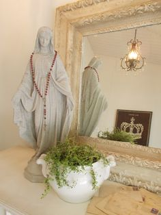 The Apothecary Shop. Home Altar Catholic, Madonna, Prayer Corner, Virgin Mary Statue, Prayer Garden, French Country Farmhouse, Blessed Mother Mary, Witch House, Altars