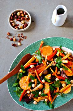 Citrus and Roasted Winter Vegetable Salad with Pomegranate Dressing by @kellie anderson