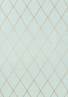 Rigid metallic lines pop against the rustic, linen-like ground of Vernon #wallpaper with its definitive trellis design and architectural flair. Featured here in #metallic gold on #aqua from the Richmond collection. #Thibaut