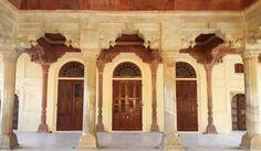 Archways, columns and doorways. Pink and cream sandstone from Rajasthan. Amber Fort, Jaipur, Rajasthan, India. Katiesargentdesign.com Rajasthan India, Jaipur, Interior Design Studio, Interior Design Services, Doorway, Columns, Amber, Cream, Pink