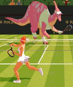Dinosaur playing tennis