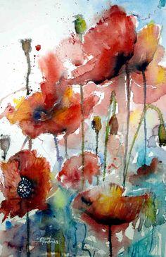 Gerard Hendriks, Klaprozen (poppies), 57 x 38 cms, 2013
