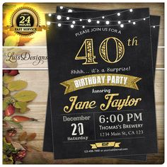 Surprise 40th birthday invitation. Man woman. by LuisDesigns