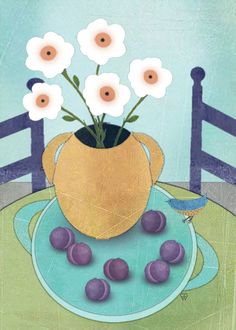 Folk Art Giclee Print Still Life with by SundayMorningStudio