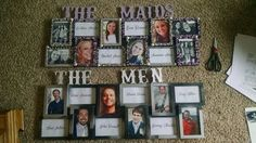 Amanda and Jonathan's summer 2015 July wedding. The maids and men's frame. A way to honor the bridesmaids and groomsmen at the wedding reception. Guest can know who supports the bride and her marriage to the groom.