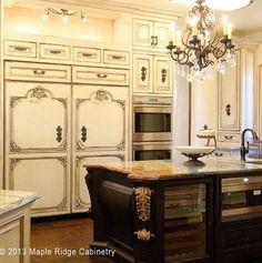 Beautiful kitchen custom cabinets custom fridge distressed ebony island creme granite