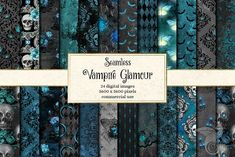 """""""Vampire Glamour"""" Digital Paper More color schemes and similar items available in my shop! This is a set of 24 Gothic blue, teal and black Halloween digital Vintage Grunge, Seamless Background, Seamless Textures, Graphic Patterns, Graphic Design, Web Design, Pixel, Scrapbook Paper, Scrapbooking"""