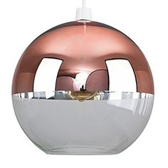 Stunning Modern Copper Rose Gold Effect / Brown Glass Ball Ceiling Pendant Light Shade..: Amazon.co.uk: Lighting