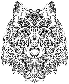print high quality wolf mandala adult coloring pages ? | pinterest - Peter Wolf Coloring Pages