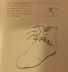 14th century shoe. From the book Stepping through time